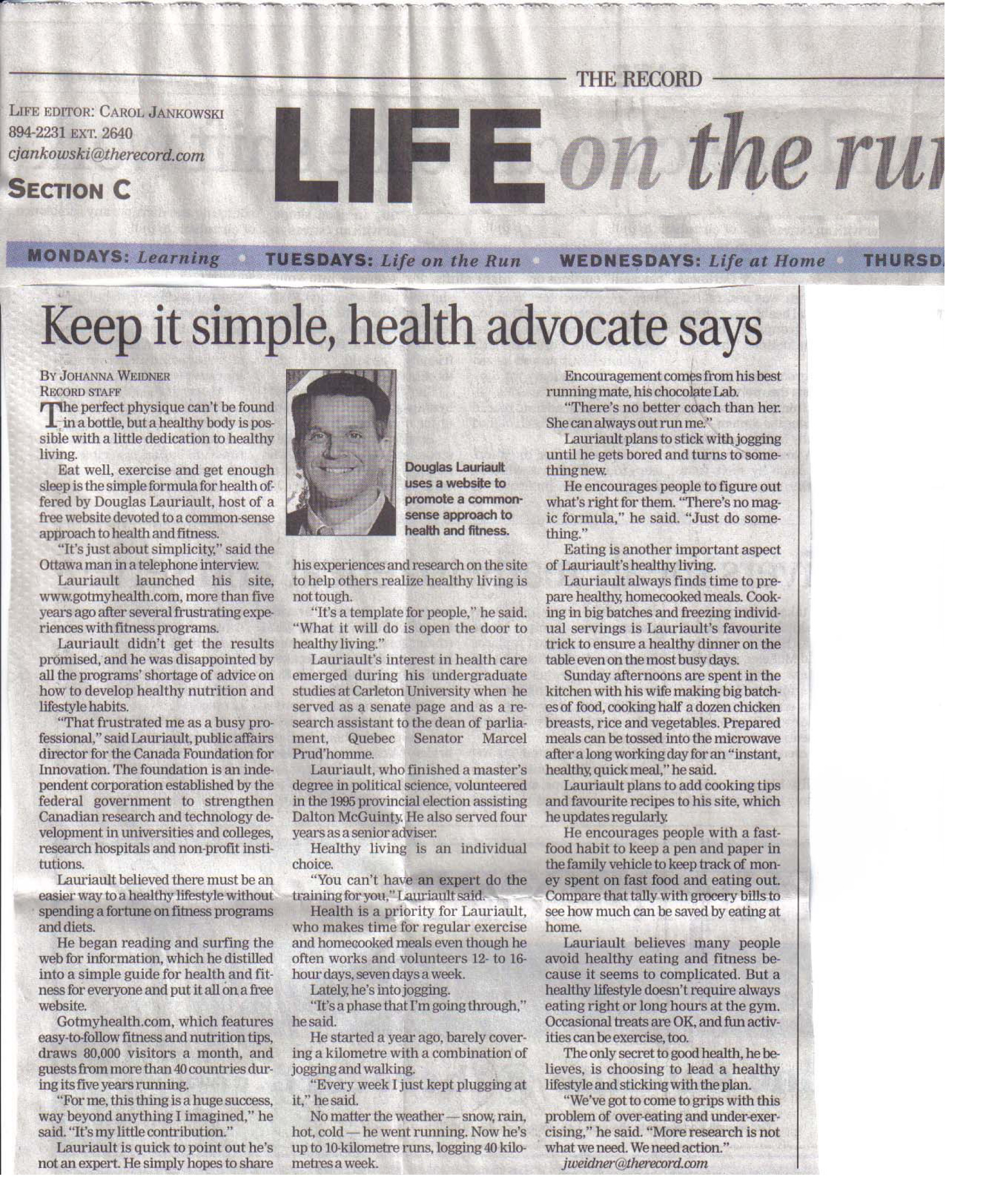 current health articles and reviews through newspapers